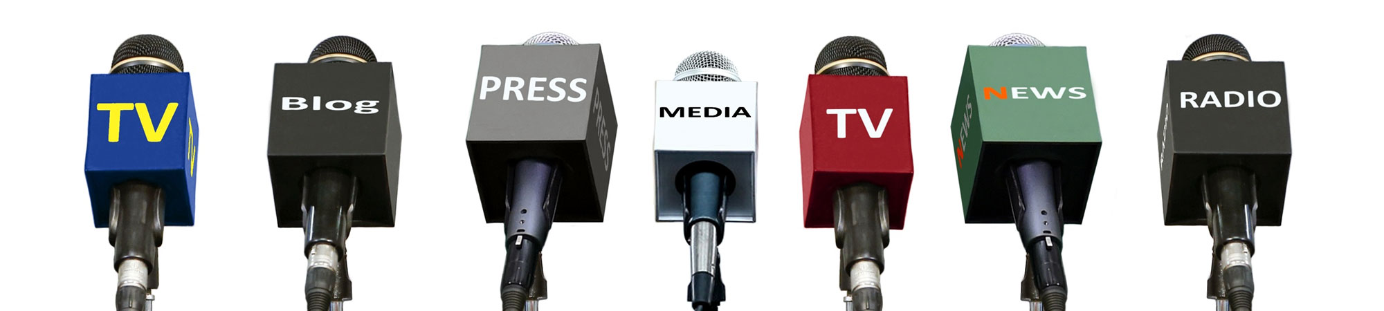 Banner showing microphones with different media labels